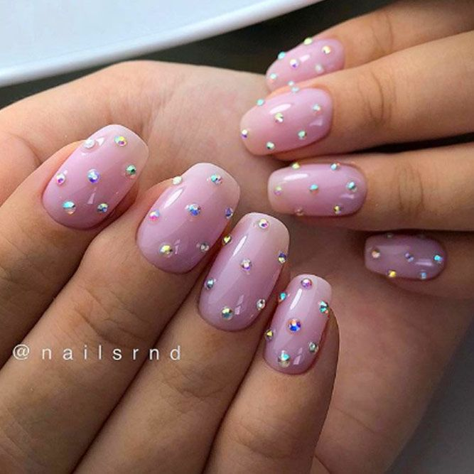 Nude Nail Design With Stones