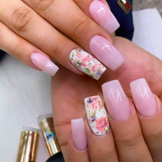 Stones Nails With Floral Art