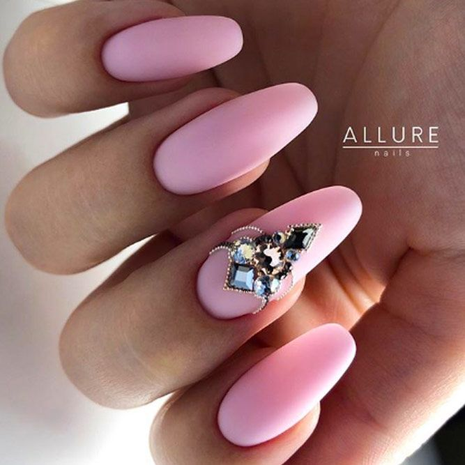 Pink Matte Nails With Rhinestones