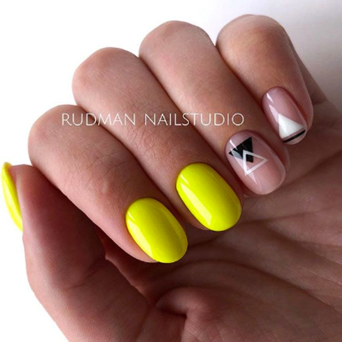 Yellow Nail Art With Geometric Accent