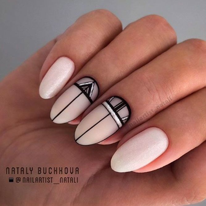 Nude Nail Art With Geometric Accent