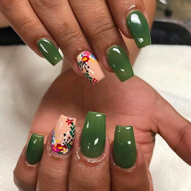 Olive Nails With Hand Painted Flowers