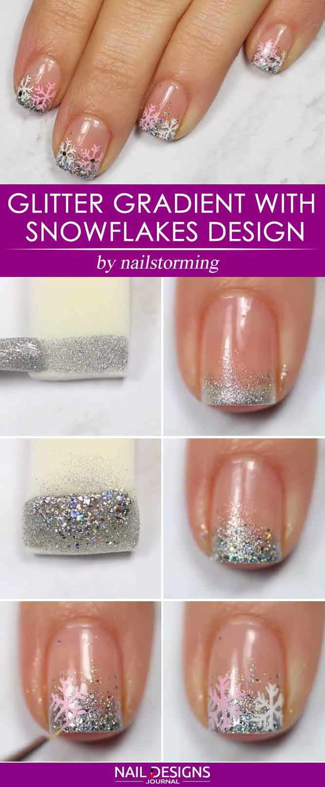 Glitter Gradient With Snowflakes Design