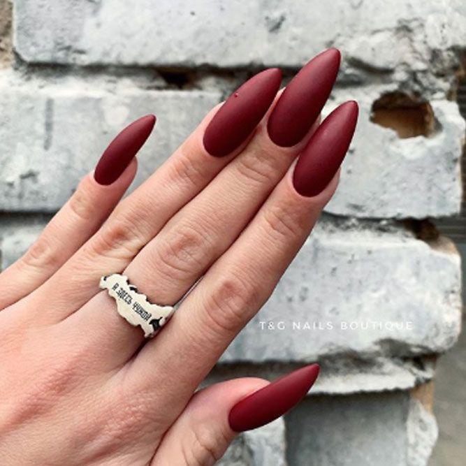 Dark Burgundy Classy Nails