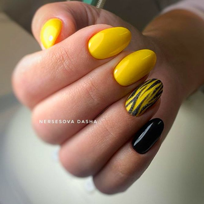 Yellow Color Nails With Black Accent