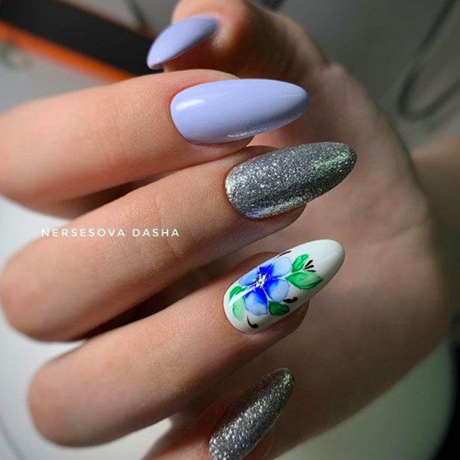 Blue Pastel Nails With Spring Flowers