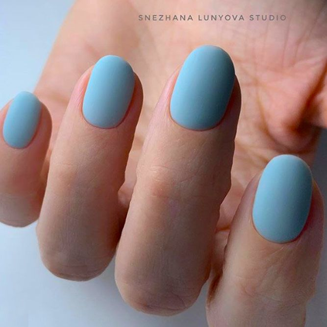 Beautiful Blue Matte Nail Designs