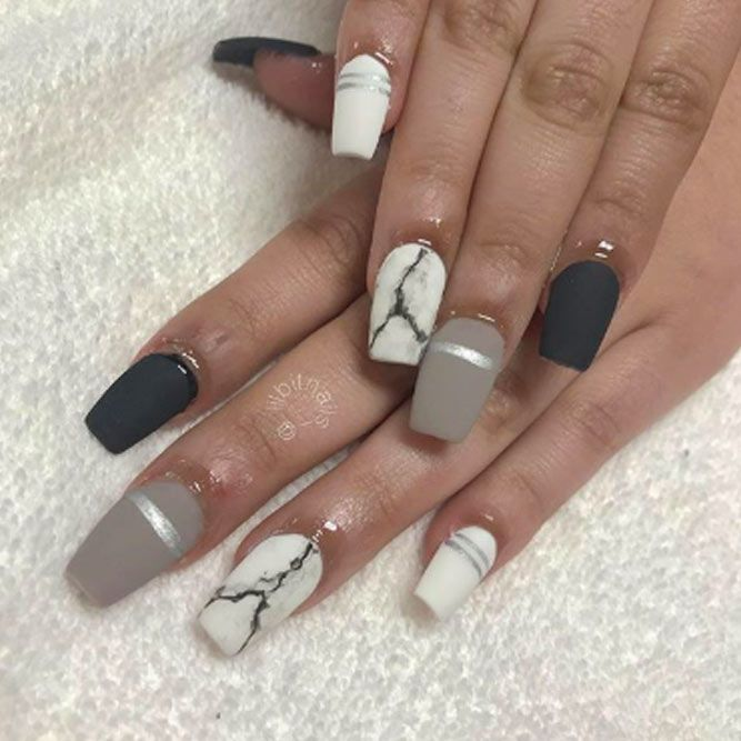 Matte Nails With Marble Accent