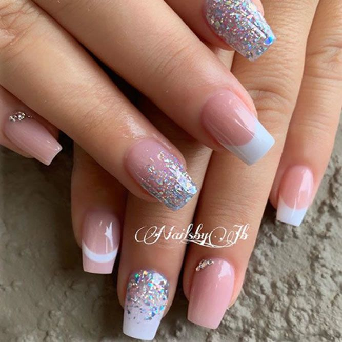 French With Silver Glitter Gradient