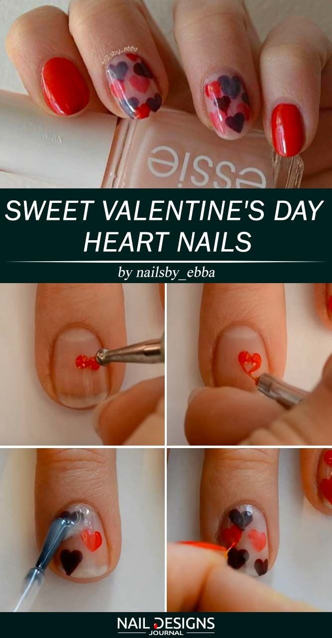 Sweet Valentine's Day Heart Nails