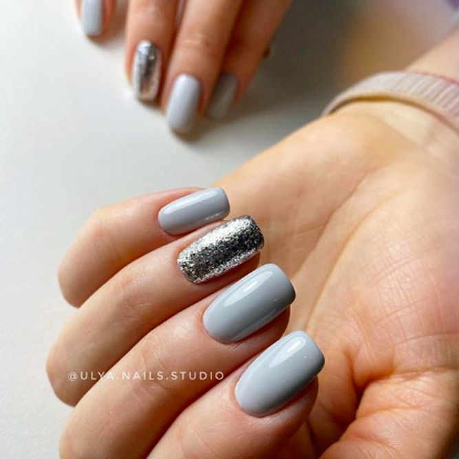 Simple Gray Manicure