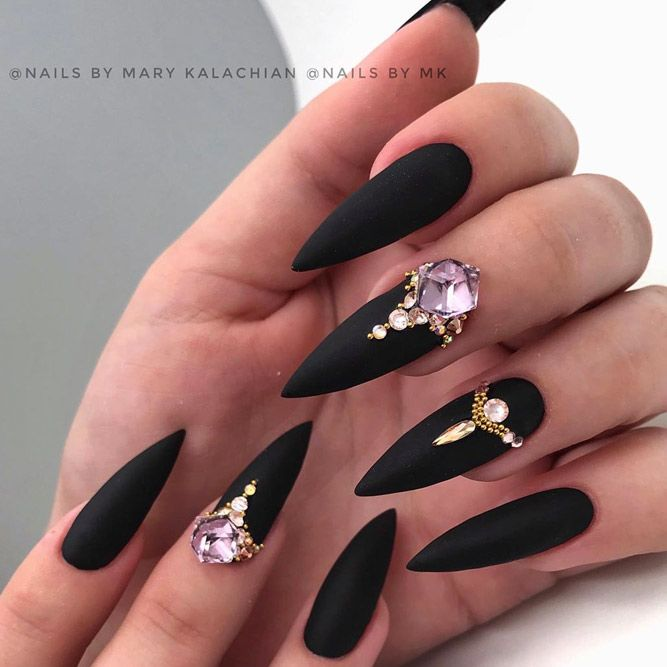 Gold And Black Combo Nails Design