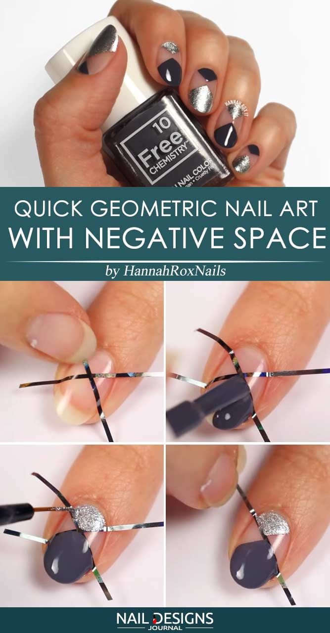 Quick Geometric Nail Art With Negative Space