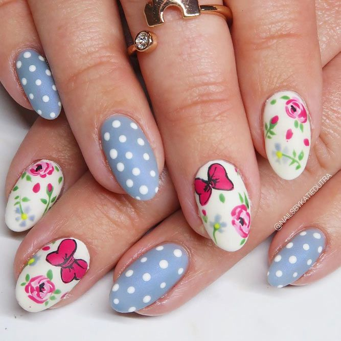 Polka Dots For Easter Nails