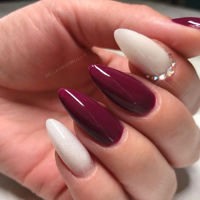 Maroon Nails With Nude
