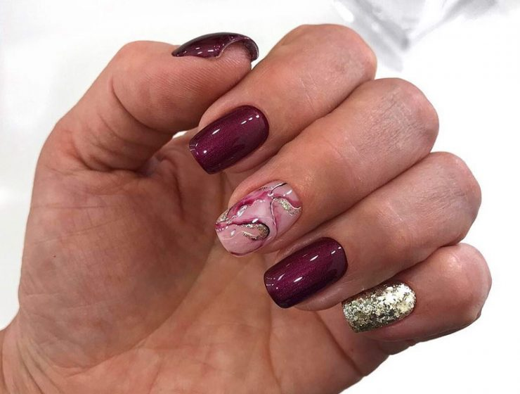 Dazzling Ideas For Maroon Nails Designs