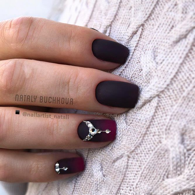 Matte Marron and Black Ombre Nails