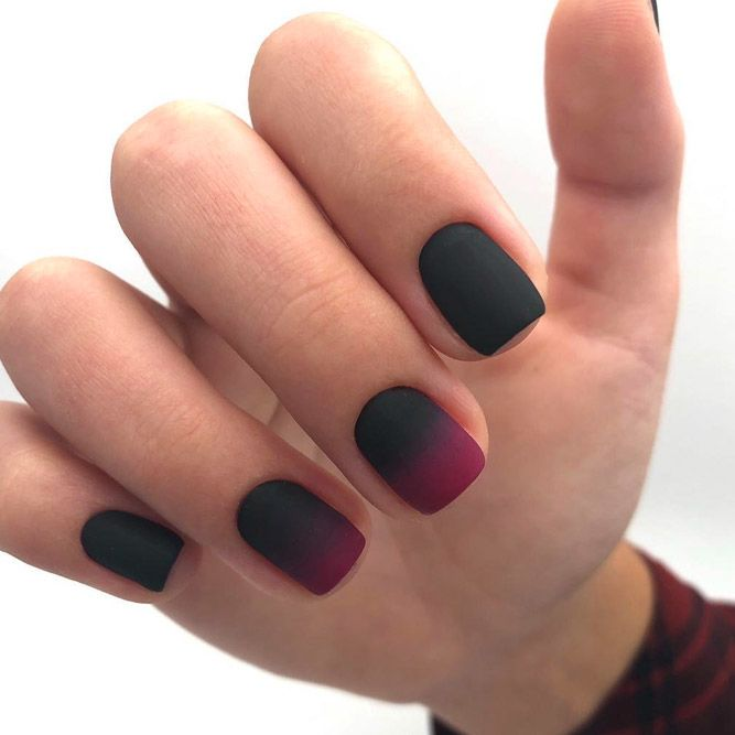 Ombre Nails Designs With Black and Maroon Colors