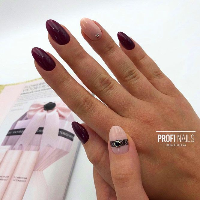 Maroon Nails With Nude Accent Color