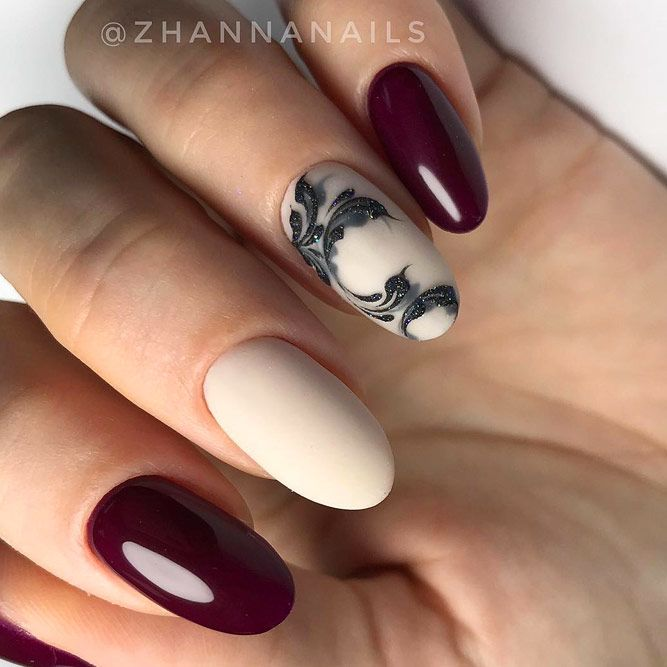 Maroon With Nude Nails Combo