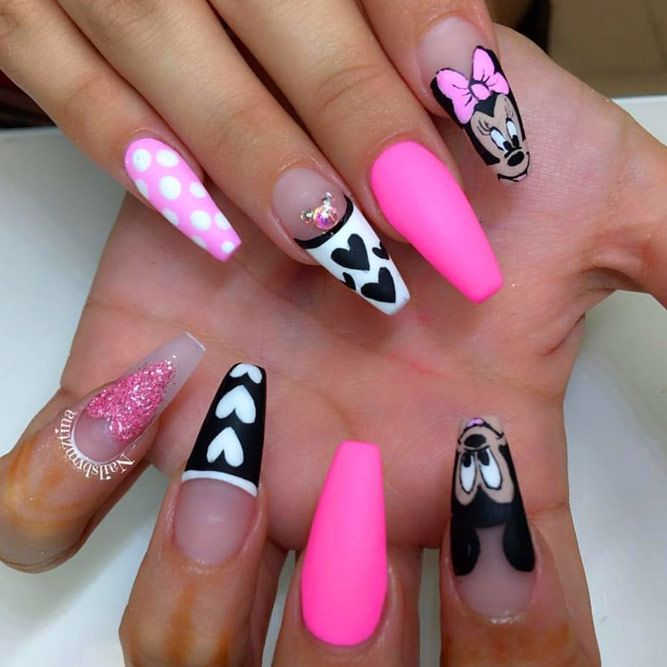 Cutie Pink and Black Disney Nails Design