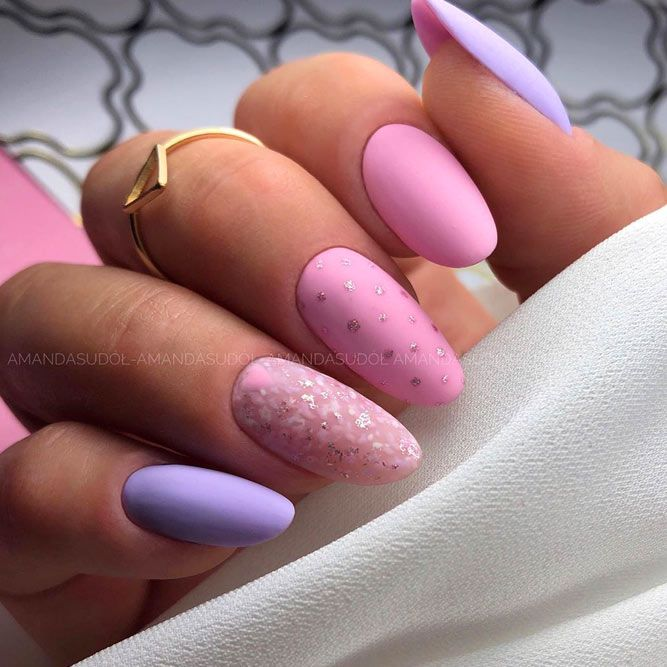Pastel Matte Pink and Blue Nails
