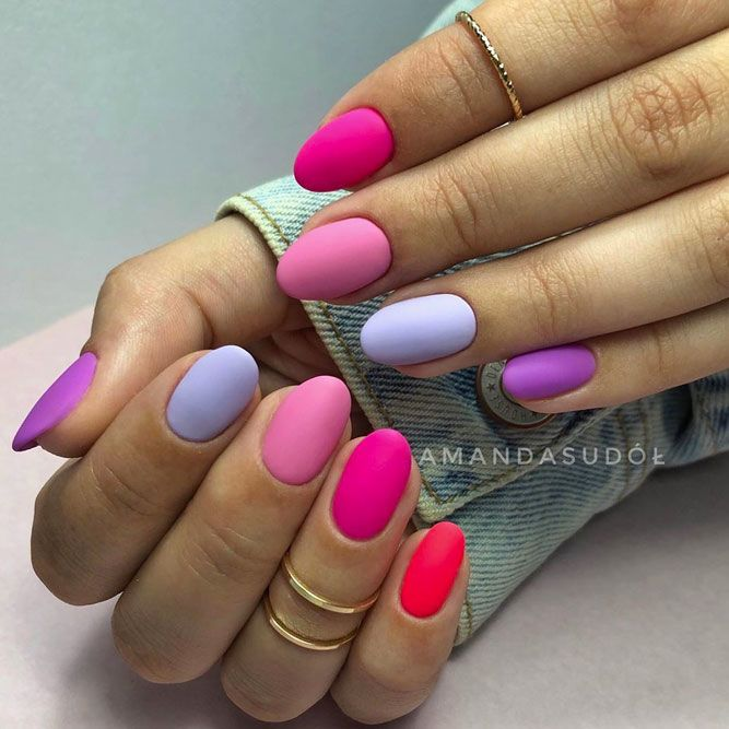 Matte Nails With Pink, Purple, Red and Blue Colors