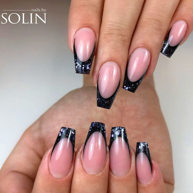 Dark Glitter French Coffin Nails