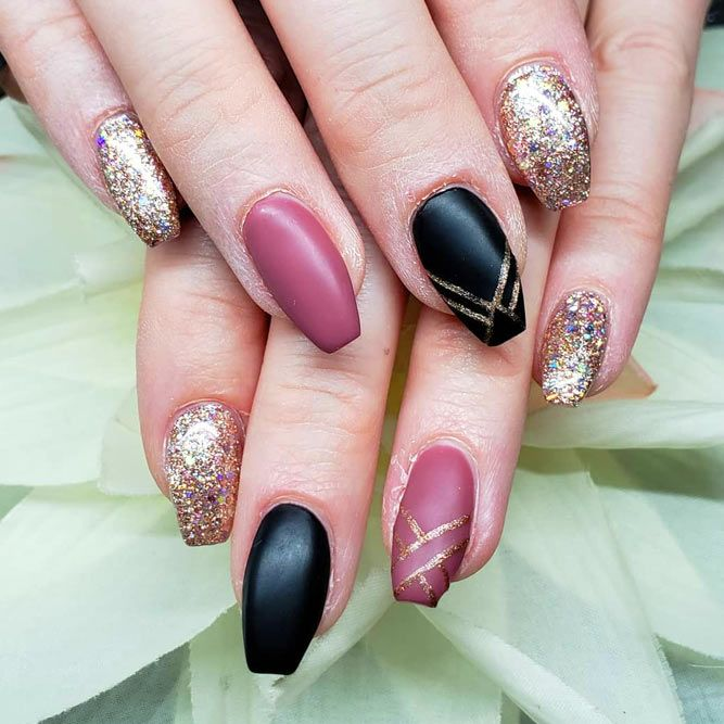 Matte Nails Art With Geometric Accent