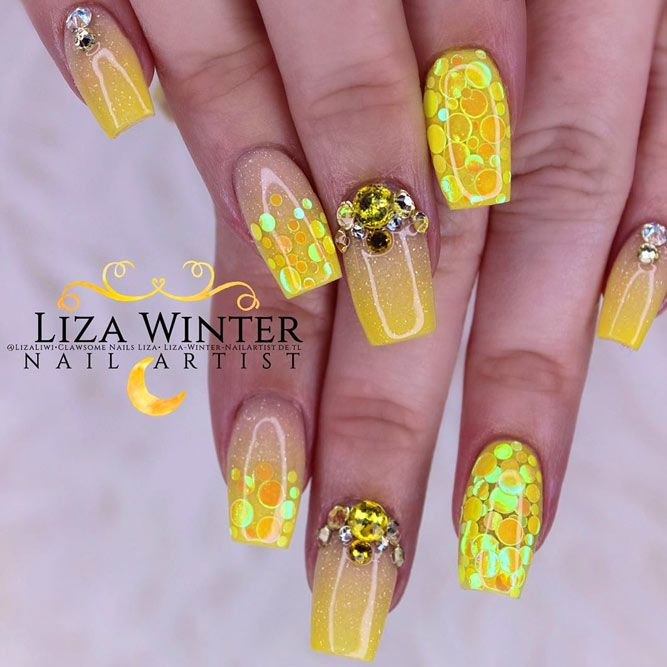 Coffin Nails With Yellow Glitter Gradient