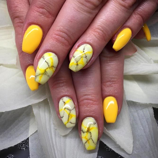Yellow Nails With Marble Effect