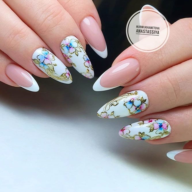 French Tip Manicure With Floral Accent