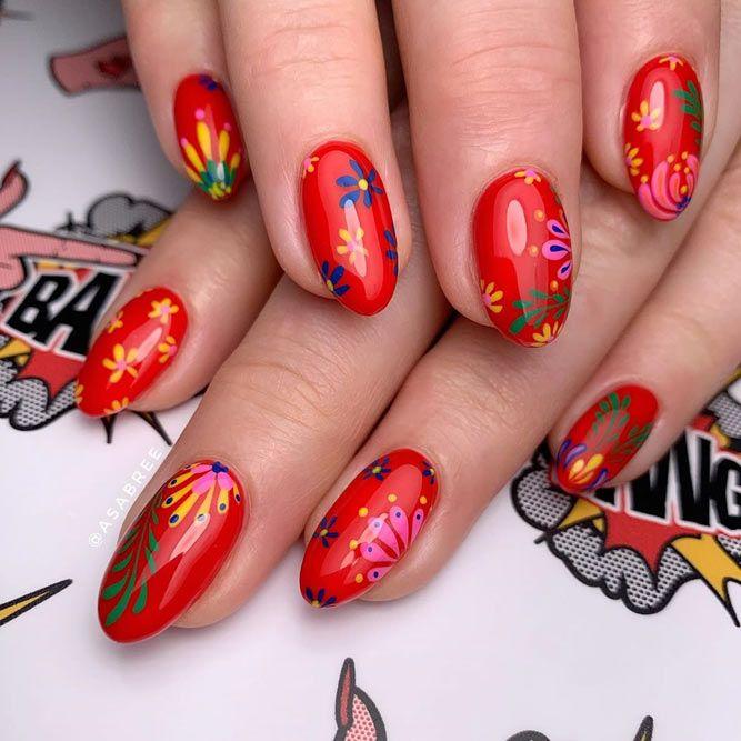 Sweet Daisies Red Nail Designs