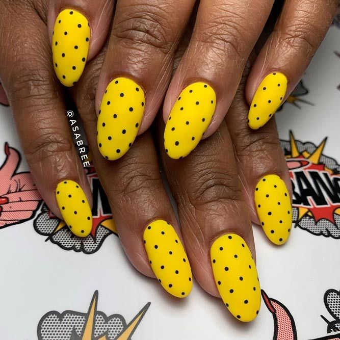 Dots For Decoration Your Yellow Spring Nails