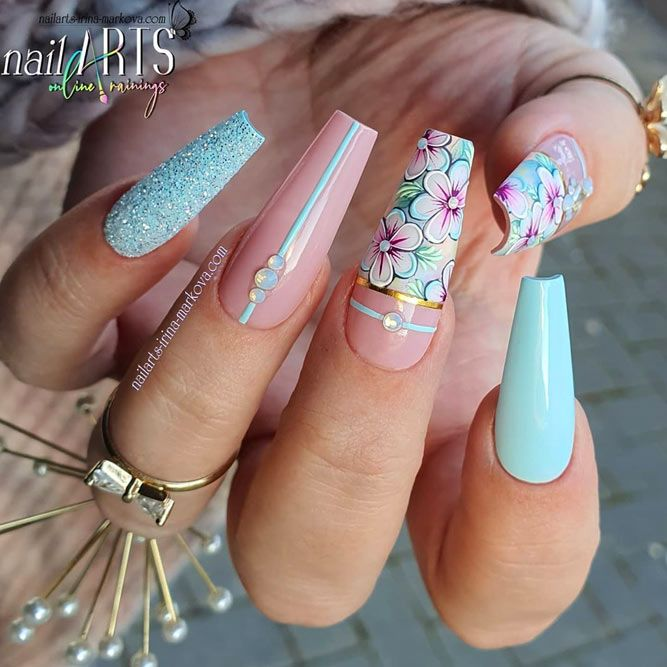 Blue Coffin Nails With Flowers