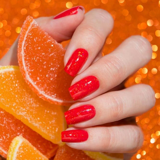 Glossy Red Summer Nails Color