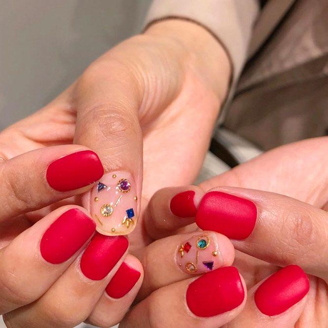 Matte Red Summer Nails Color