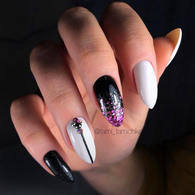 Bright Purple Glitter Ombre Nails