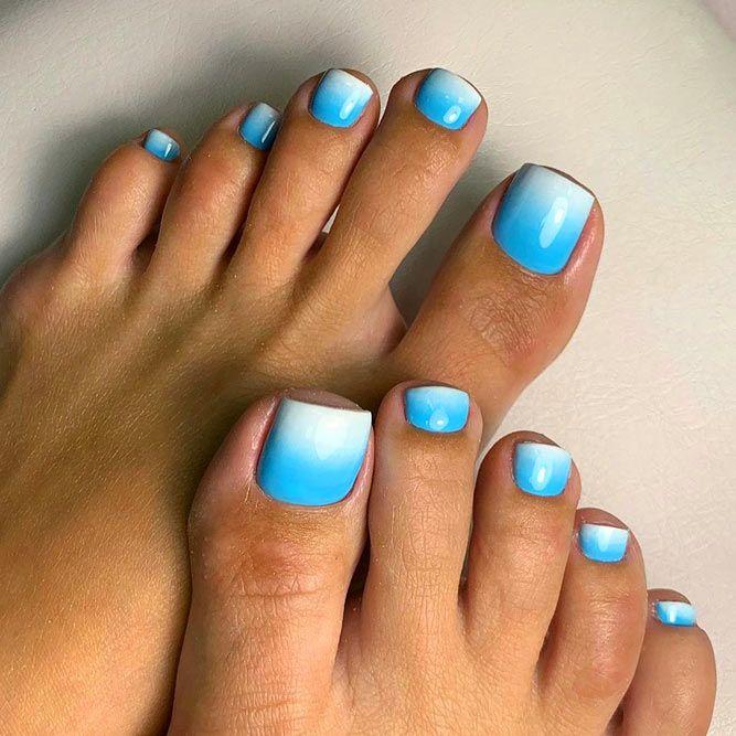 Blue Ombre Toe Nails