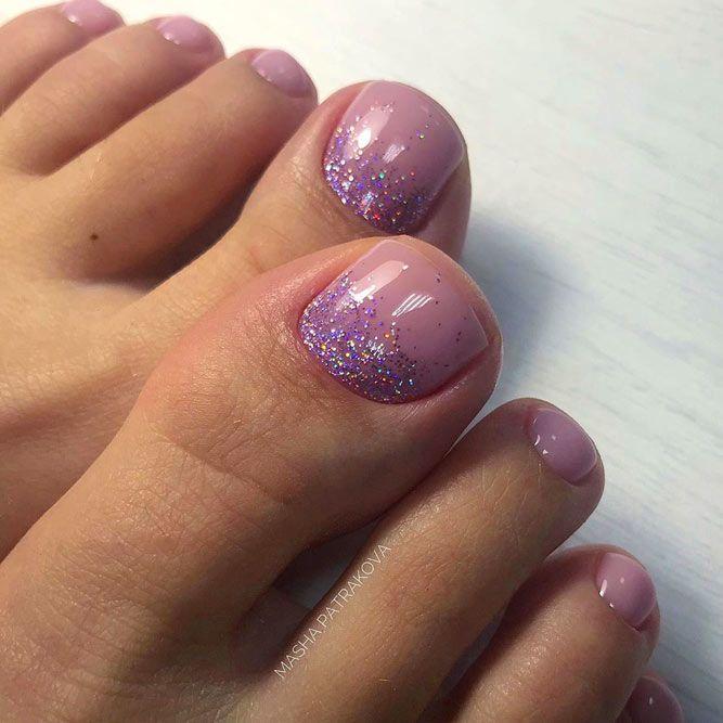 Glitter Ombre Toe Nails