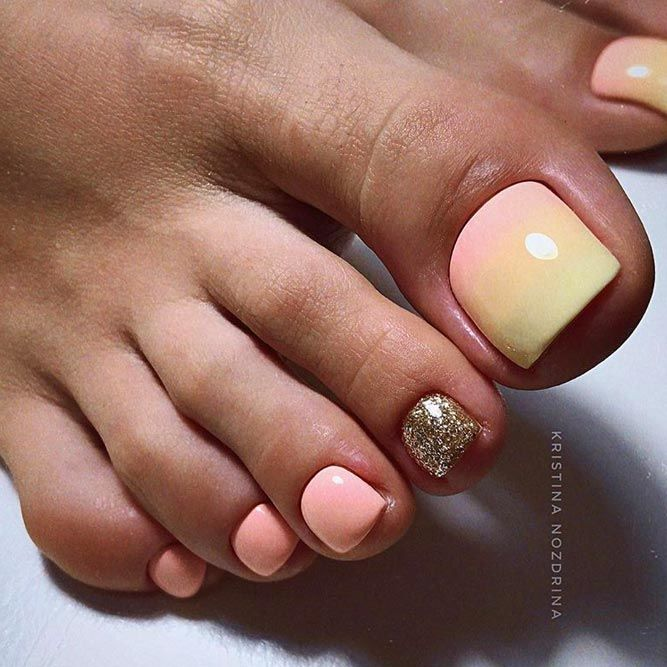 Pastel Ombre Toe Nails