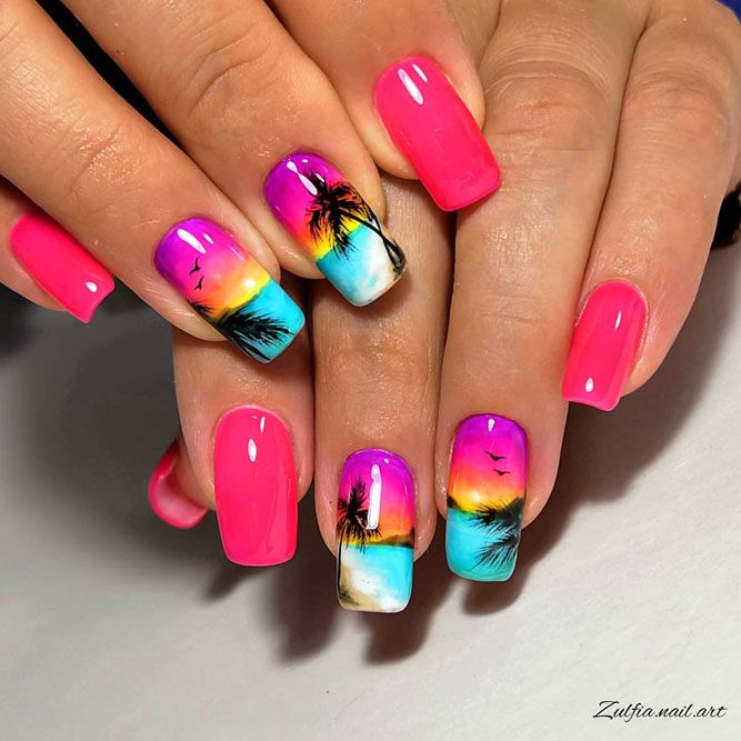 Pink-Yellow Sunset Tropical Nails Art