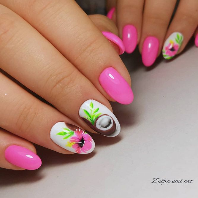 Pink Tropical Flower Nail Art