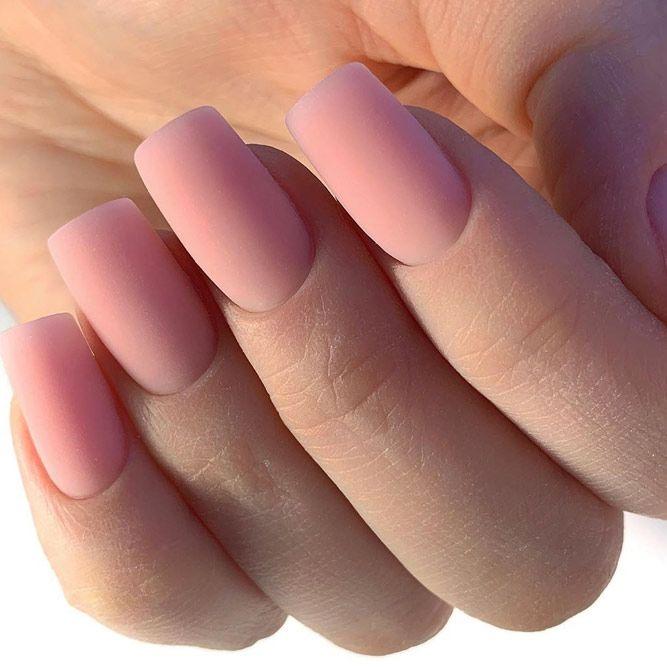 Simple Nude Matte Long Nails