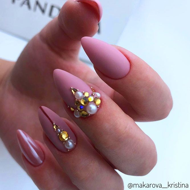 Nude Matte Nails with Stones