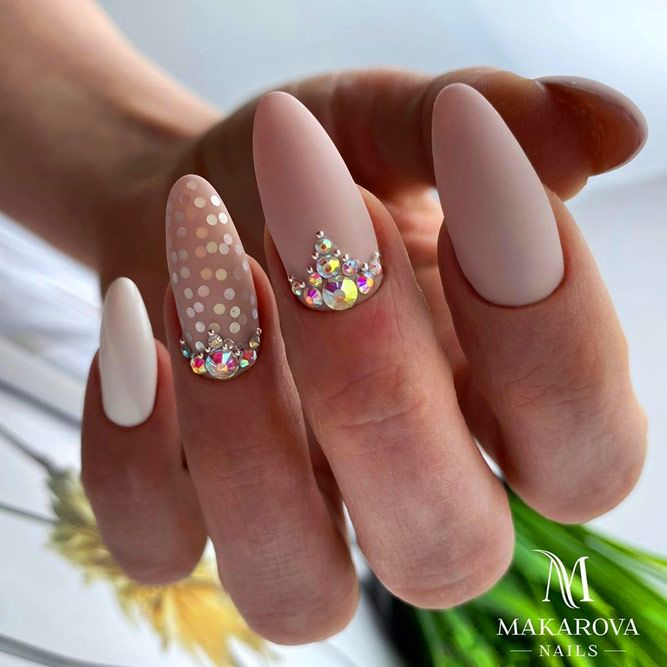 Bling Nude Matte Nails