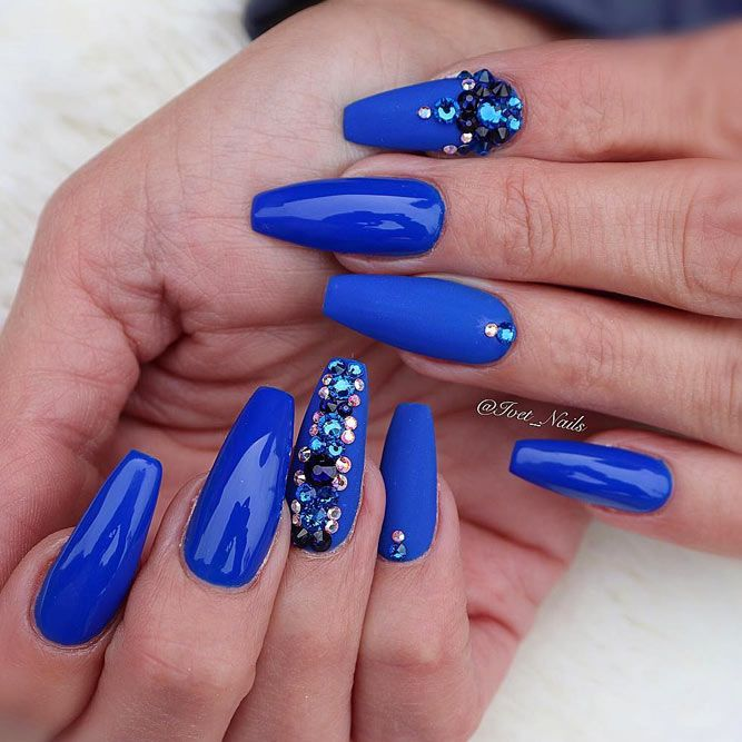 Stones Design For Royalty Blue Coffin Nails