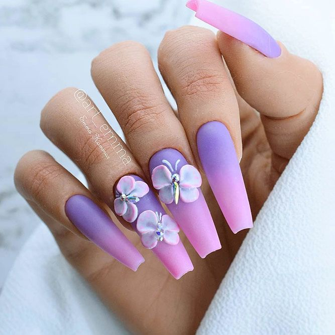 Matte Purple Ombre For Elegant Coffin Nails