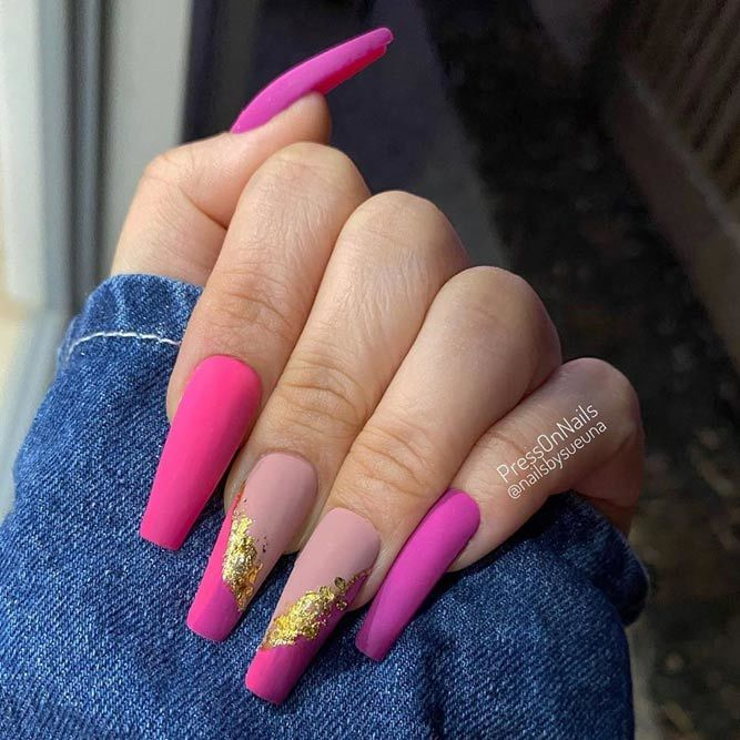 Bright Pink Matte Coffin Nails