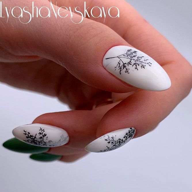 White Nail Polish with Green Color For Summer